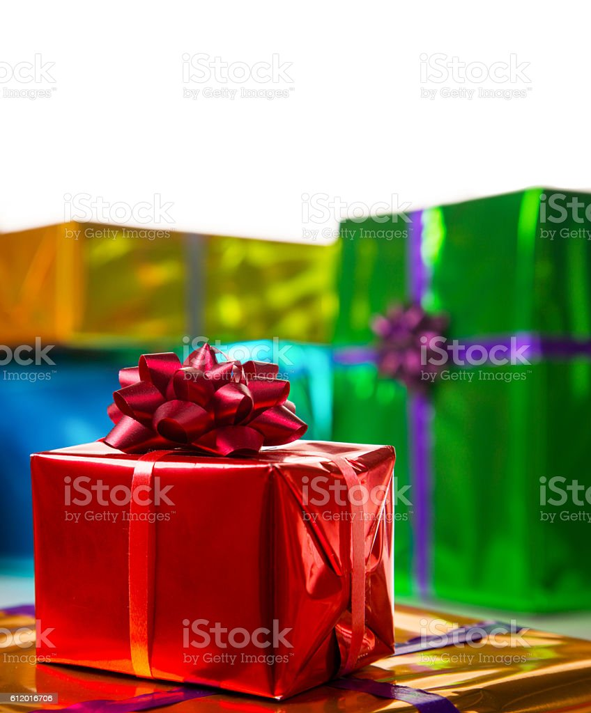 Bright and shiny gift boxes stock photo