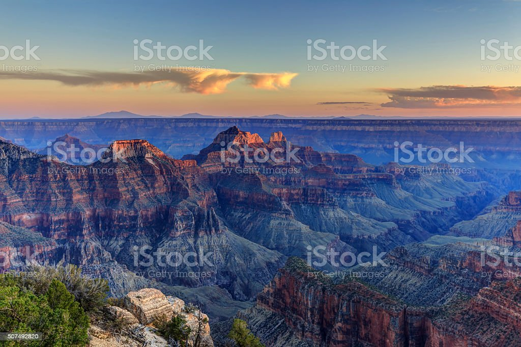 Bright Angel Point at sunset stock photo
