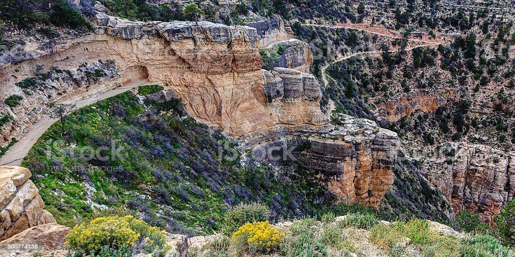 Bright Angel Trail in Grand Canyon National Park, Arizona stock photo