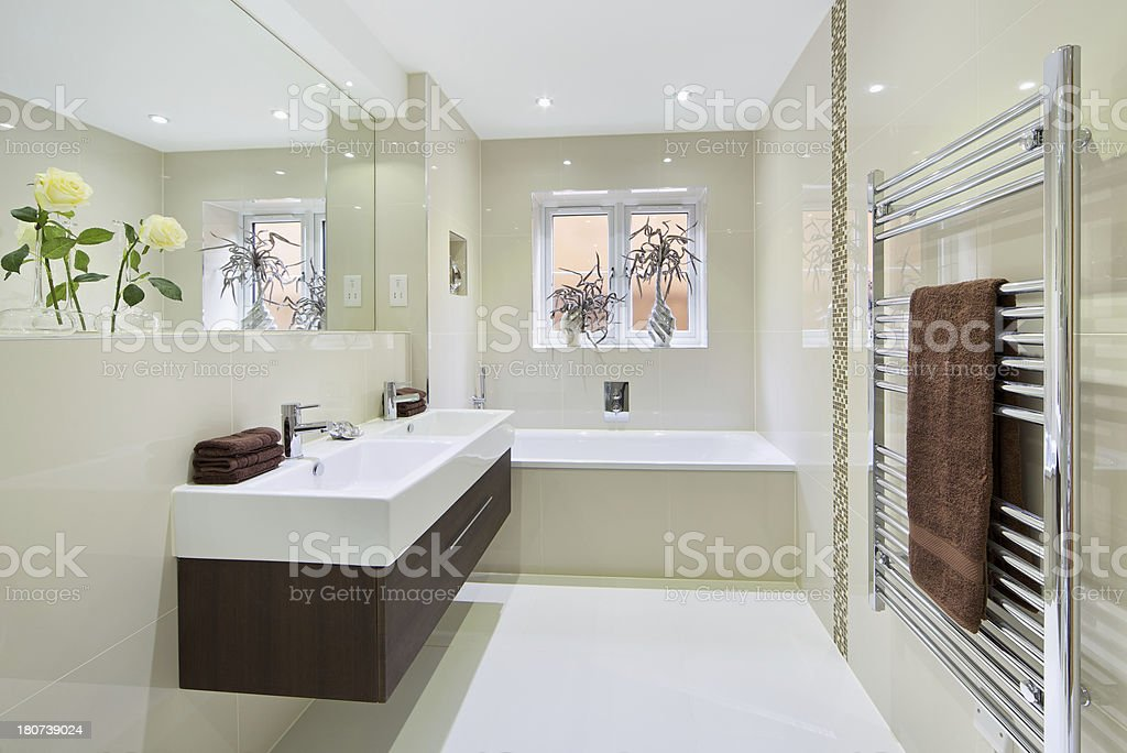 bright apartment bathroom stock photo