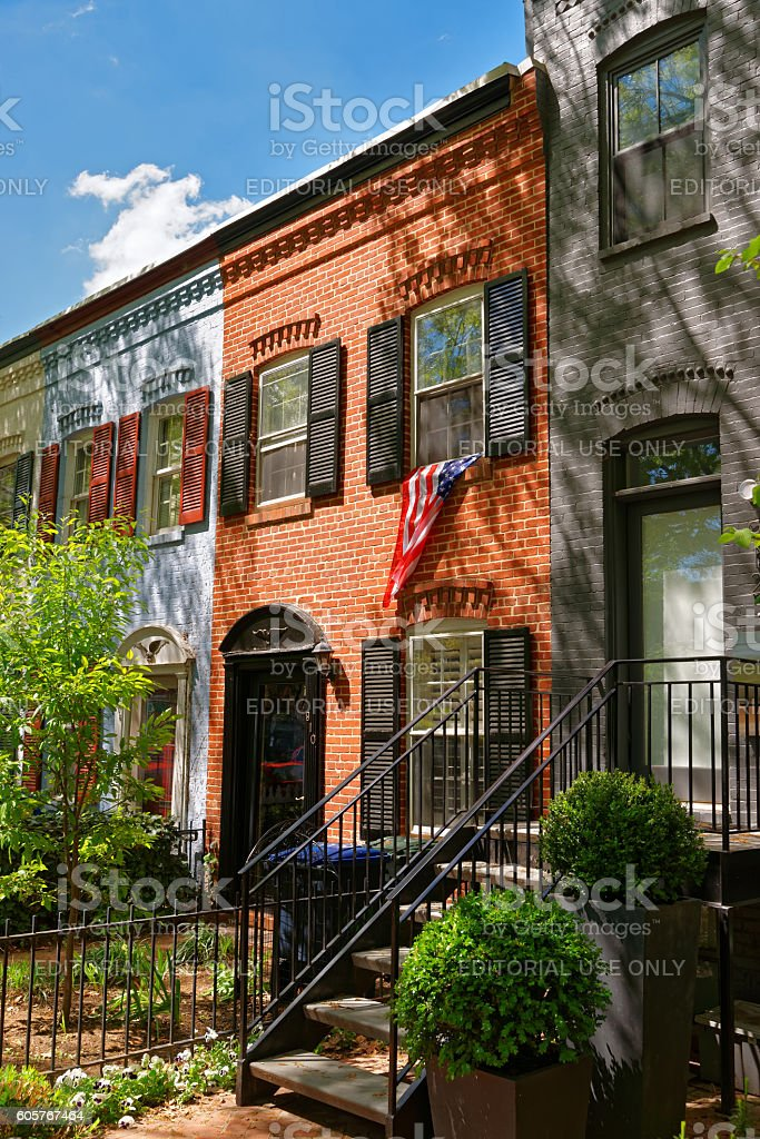 Bright architecture in Georgetown District of Washington DC stock photo