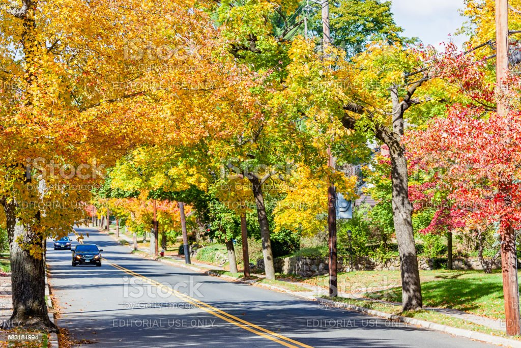 Bright Autumn colours along road in picturesque New Jersey borough stock photo