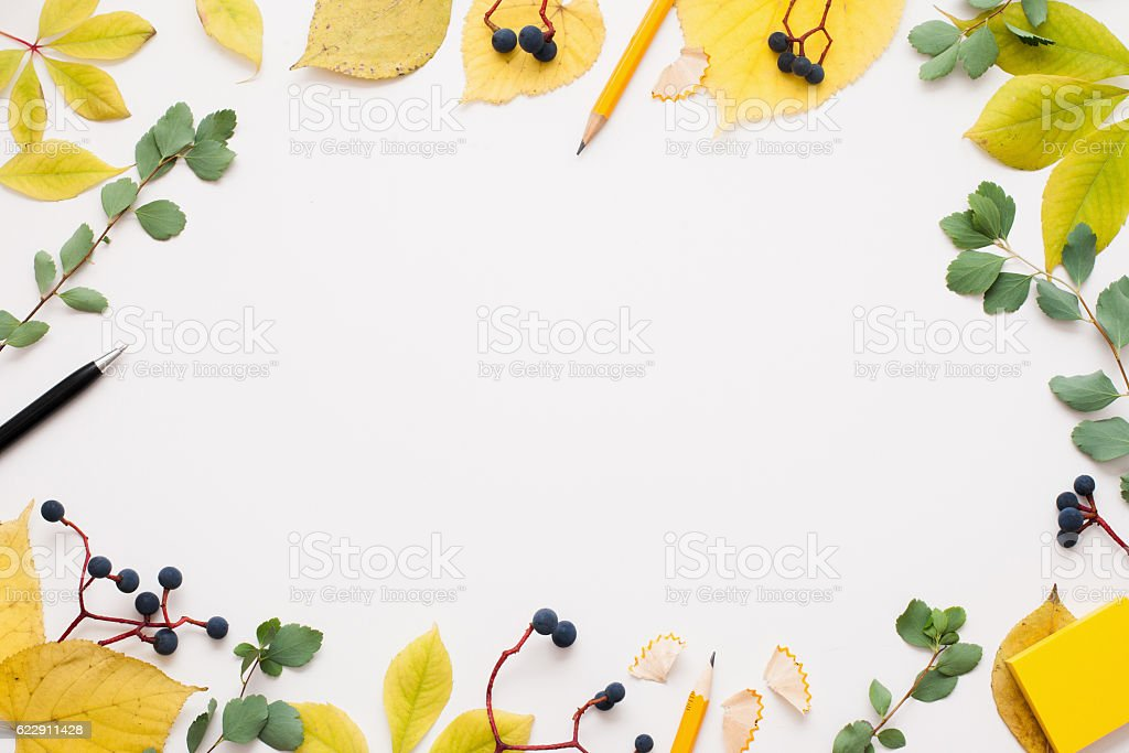 Bright autumn frame on white background stock photo