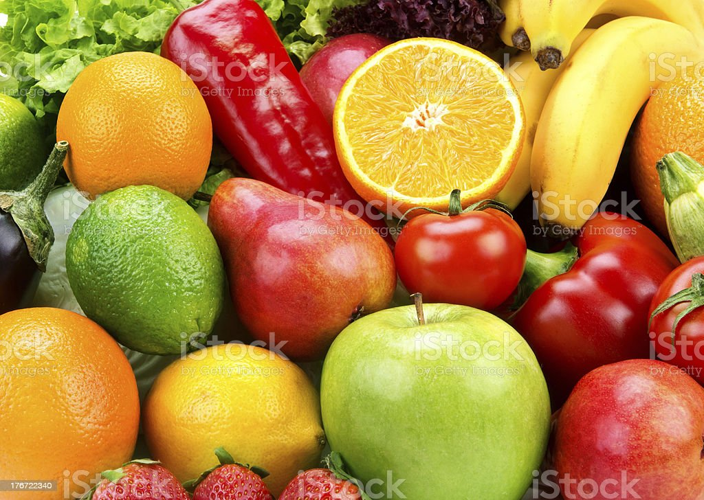 bright background of  fruits  and vegetables stock photo