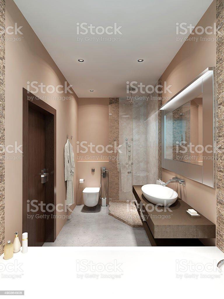 Bright bathroom Contemporary-style. stock photo