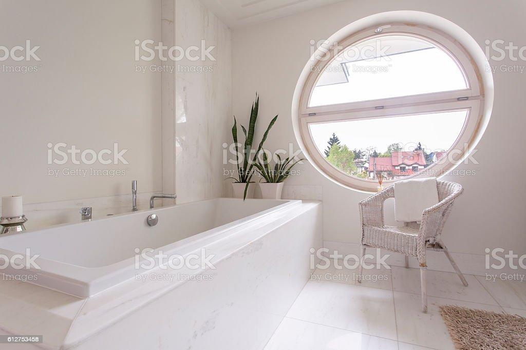 Bright bathroom design stock photo