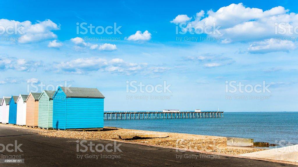Bright Beach Huts at Felixstowe, Suffolk, England, UK stock photo