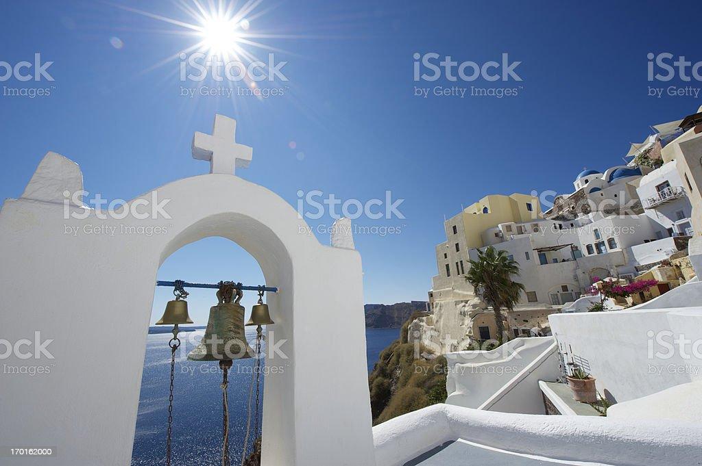 Bright Bell Tower Santorini Greece stock photo