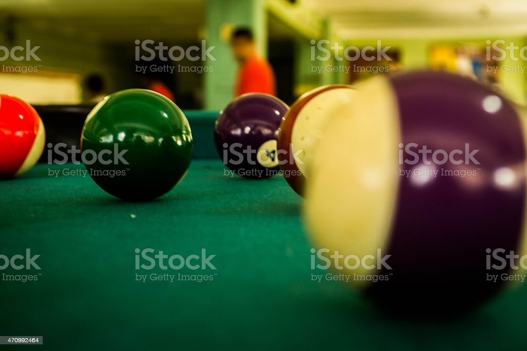 Bright billiard balls stock photo