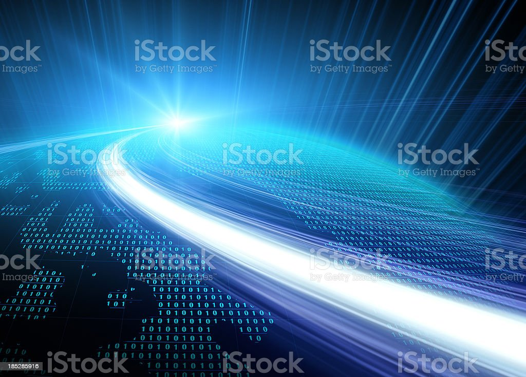 A bright blue, abstract digital image of the Earth stock photo