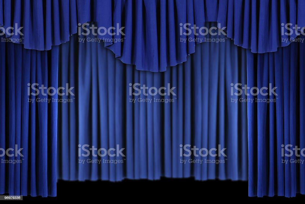 Bright Blue Curtain Drape Background royalty-free stock photo