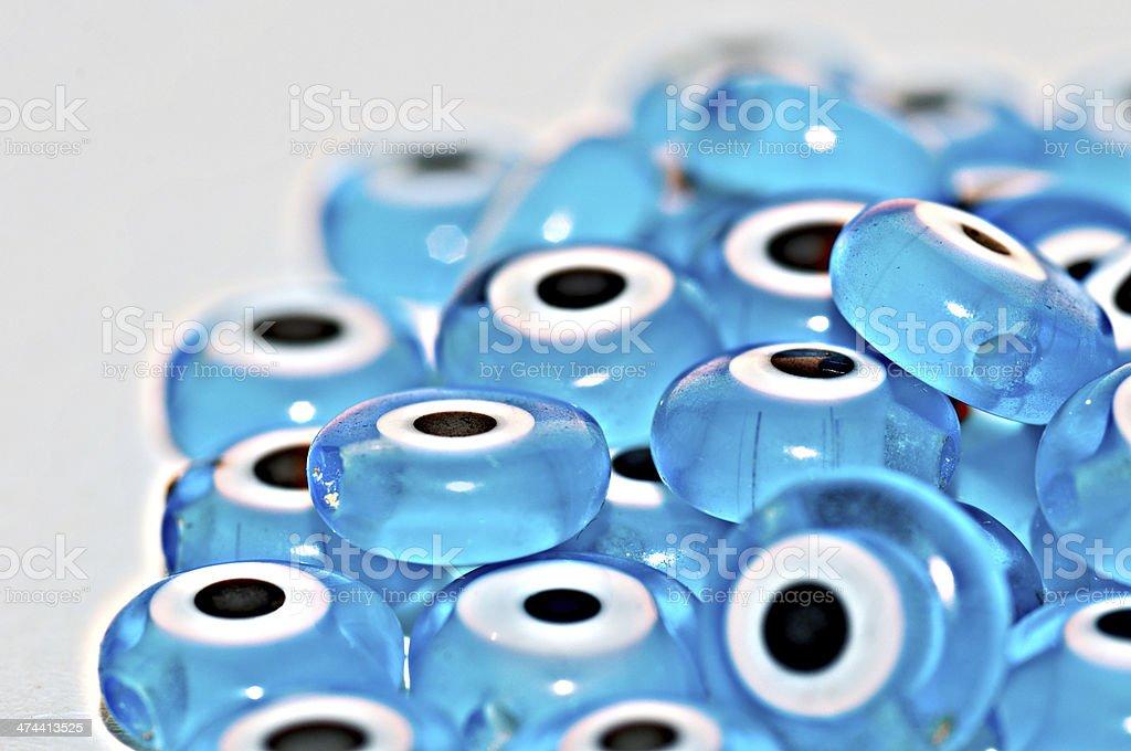 Bright Blue Evil Eyes stock photo