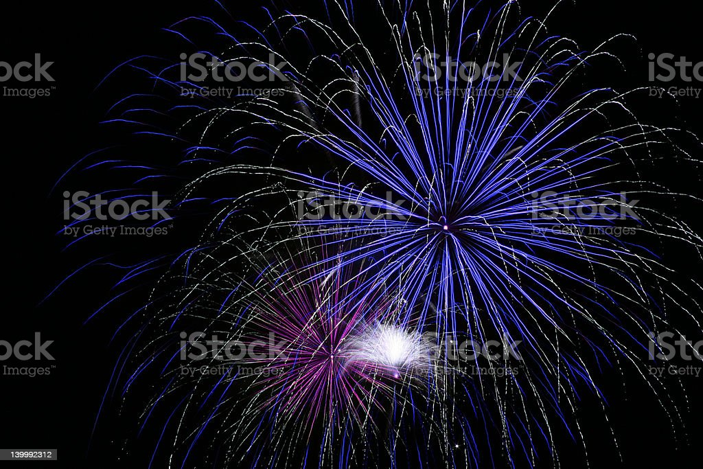 Bright Blue Fireworks royalty-free stock photo