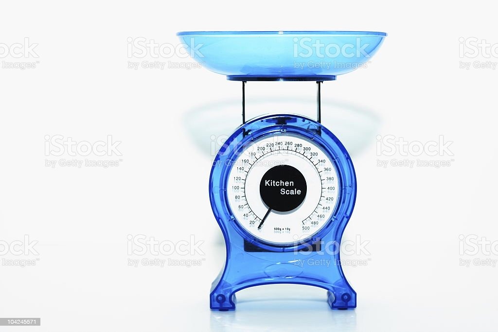 Bright blue kitchen scales royalty-free stock photo