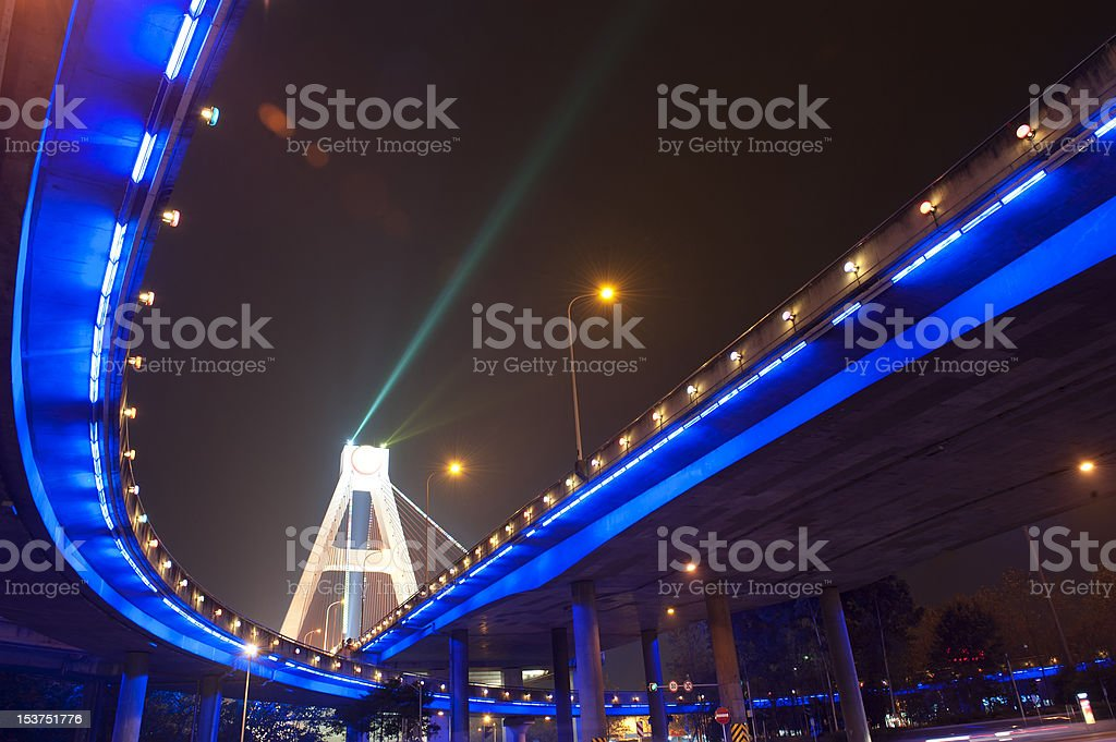 bright blue lights of urban overpass royalty-free stock photo