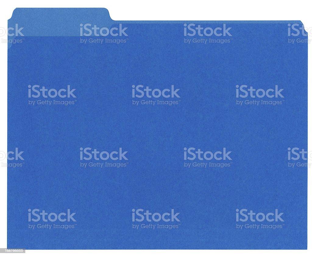 Bright blue manilla file folder on white stock photo