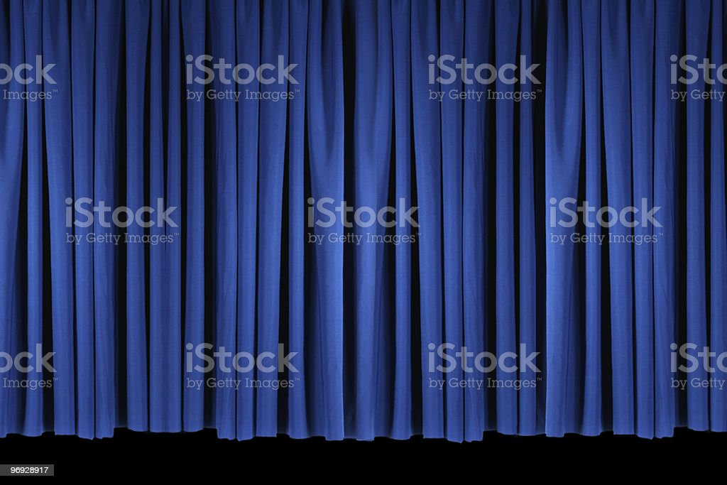 Bright Blue Stage Theater Drapes royalty-free stock photo