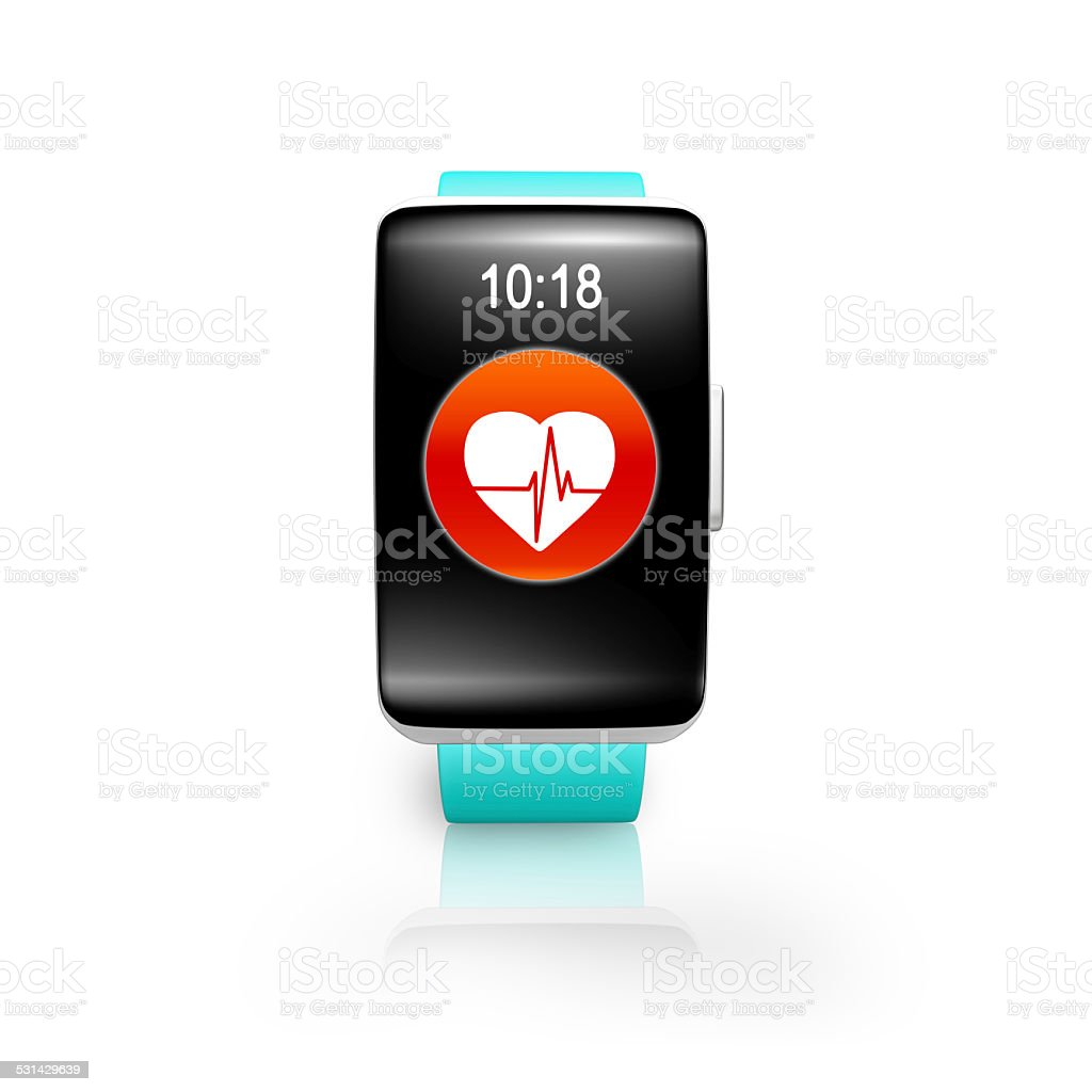 bright blue watchband curved screen smartwatch with red health stock photo