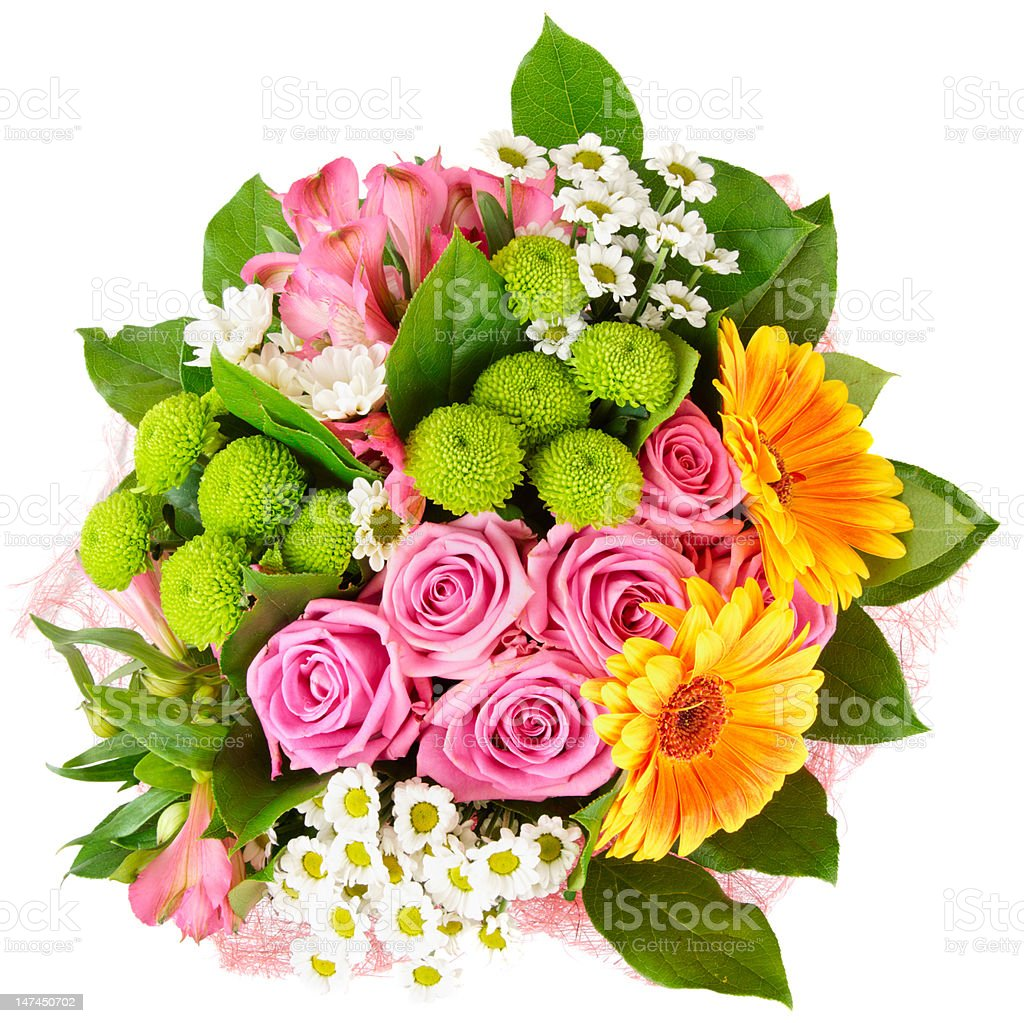 Bright bouquet isolated on white stock photo