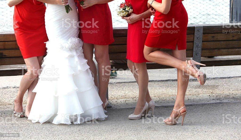 Bright Bridesmaids stock photo