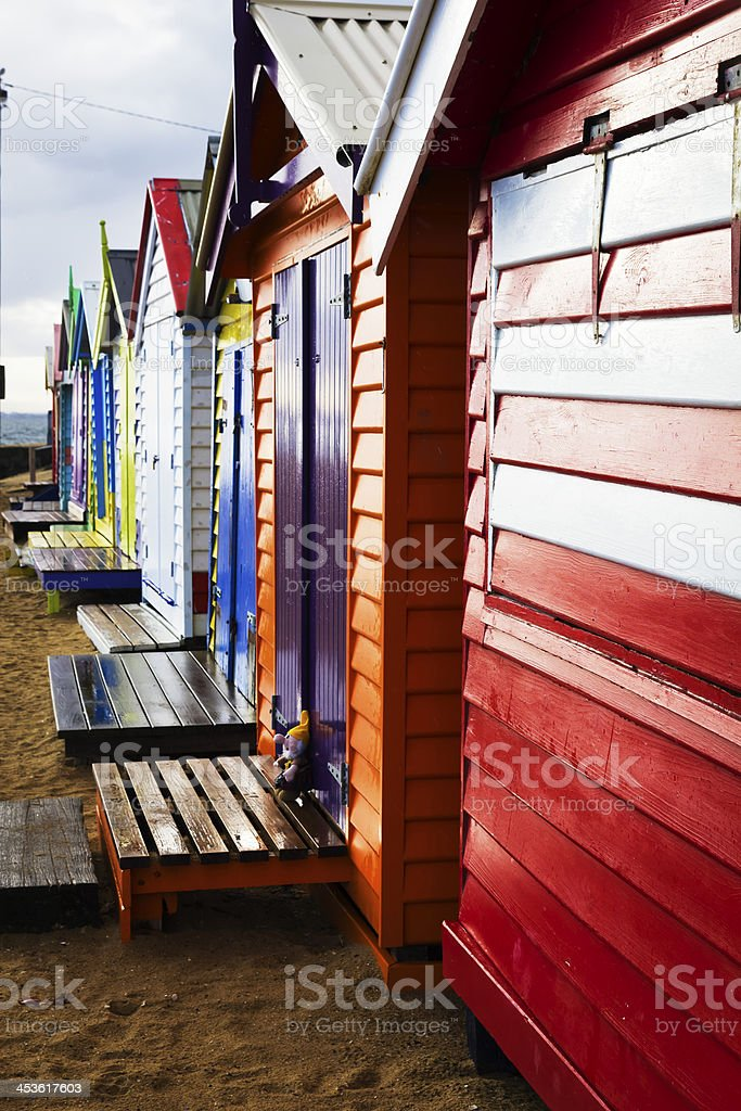 Bright Brighton bathing boxes royalty-free stock photo