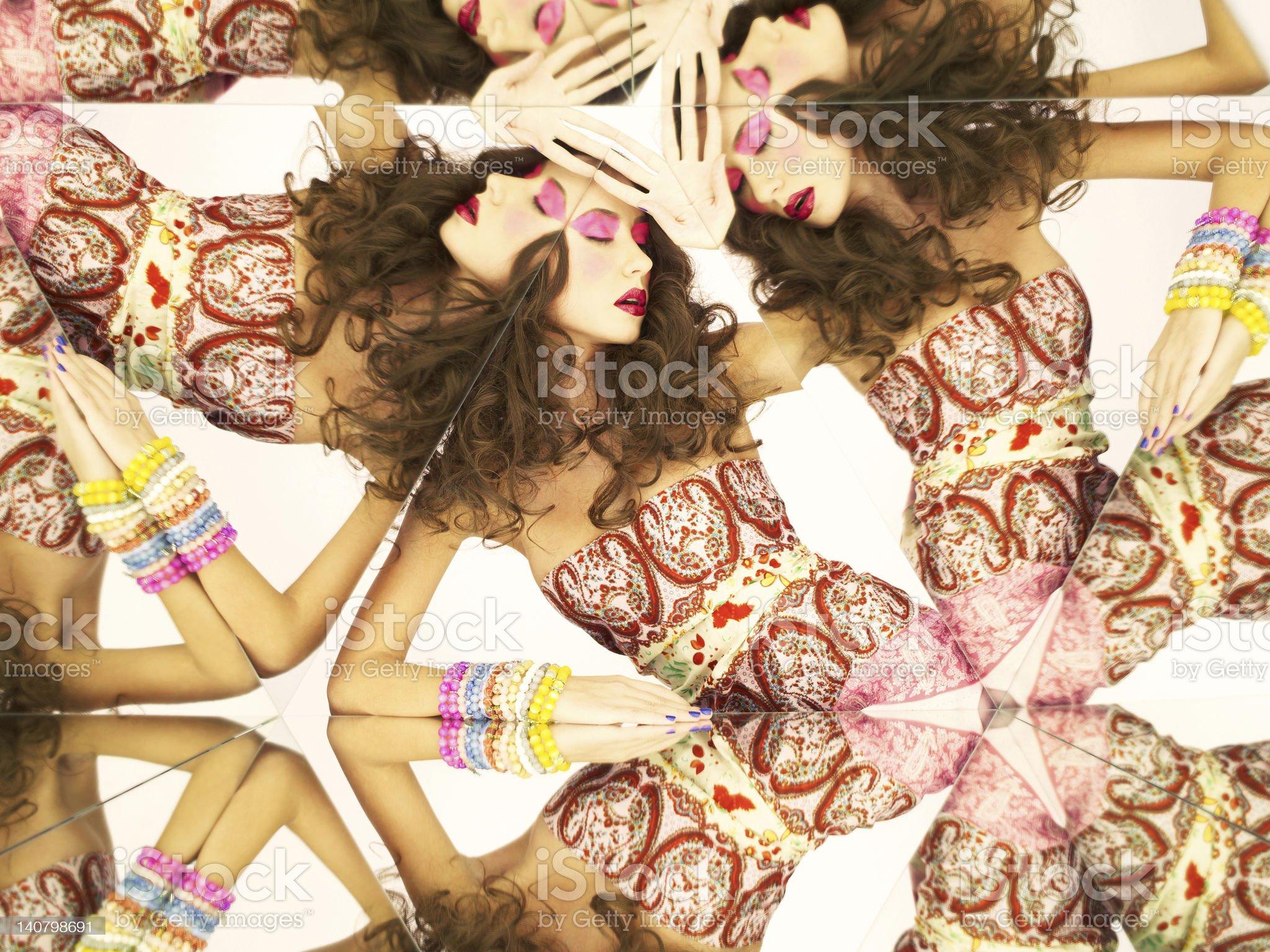 Bright brunette in kaleidoscope royalty-free stock photo