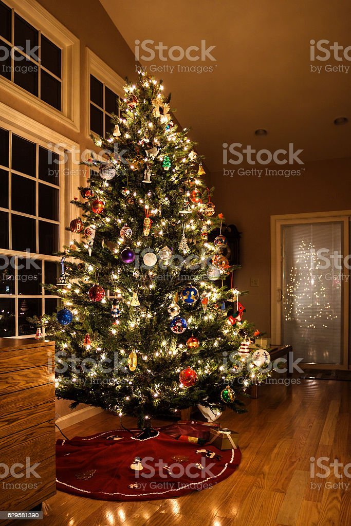 Bright Christmas lights and dozens of ornate Christmas decorations...