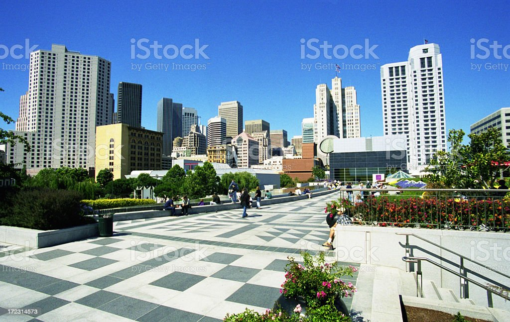 Bright, clear day in downtown San Francisco royalty-free stock photo