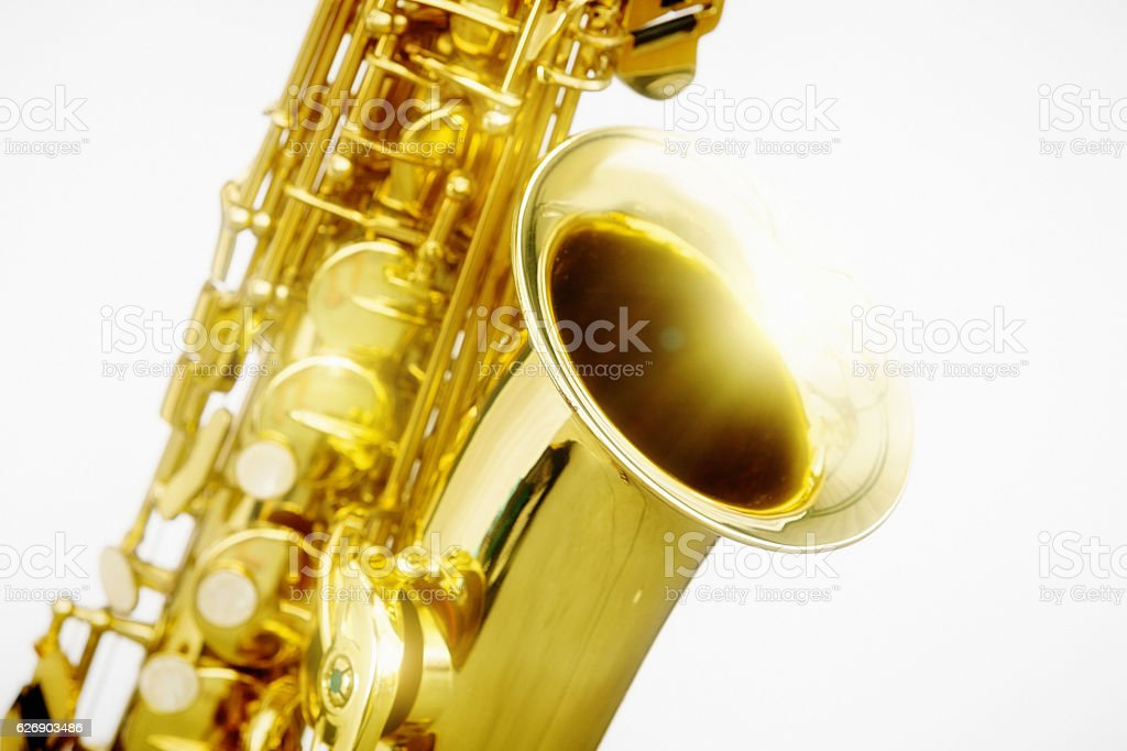 Bright close-up detail of golden alto sax stock photo