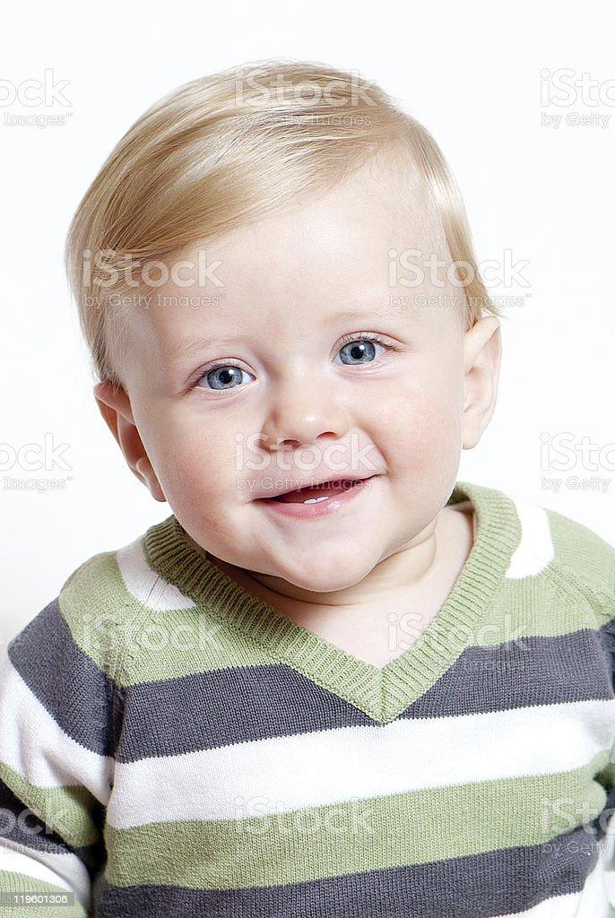 bright closeup portrait of adorable baby stock photo