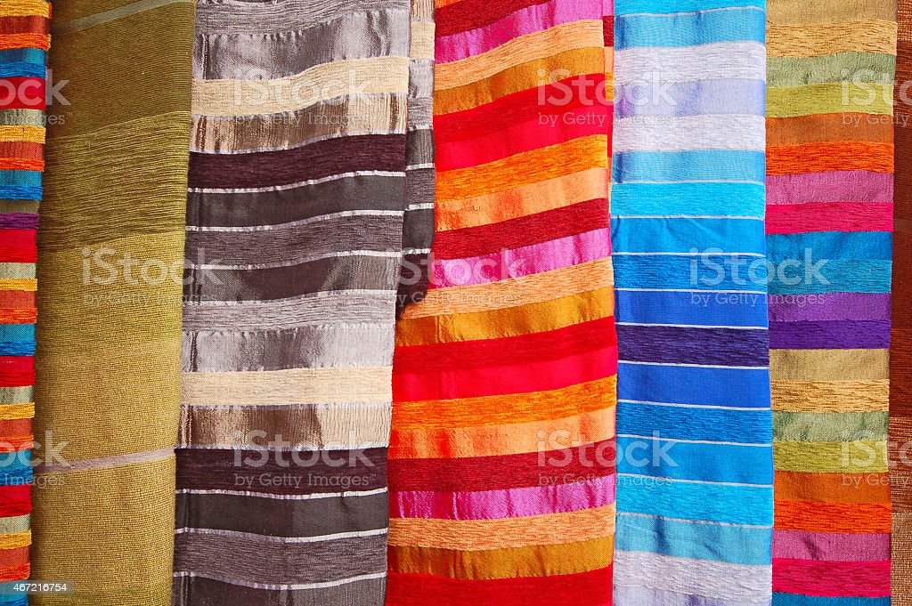 Bright cloth for sale at the market in Agadir, Morocco stock photo