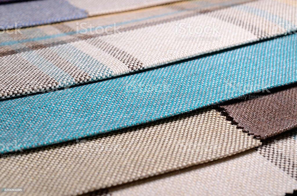 Bright collection of colorful gunny textile samples. Fabric texture background stock photo