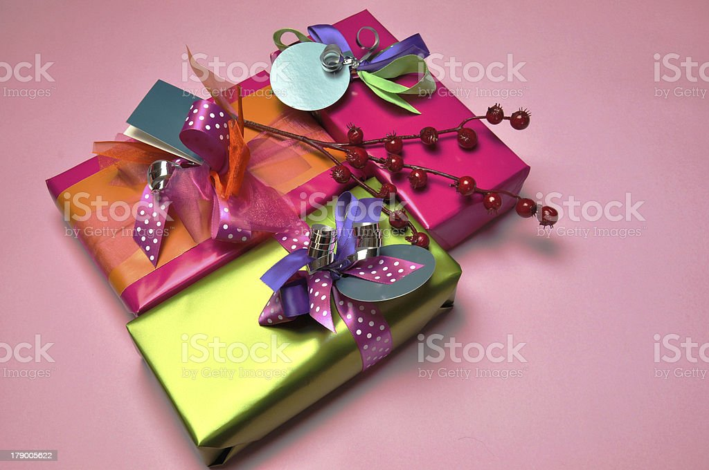 Bright color festive holiday present gifts royalty-free stock photo
