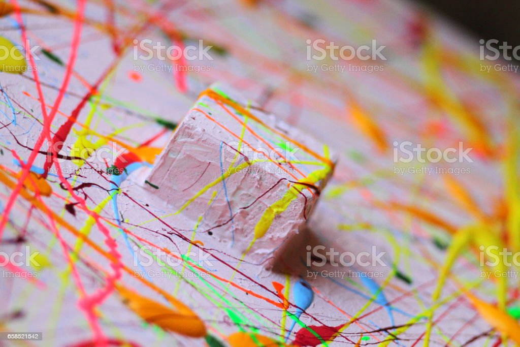 Bright color splashes on canvas stock photo