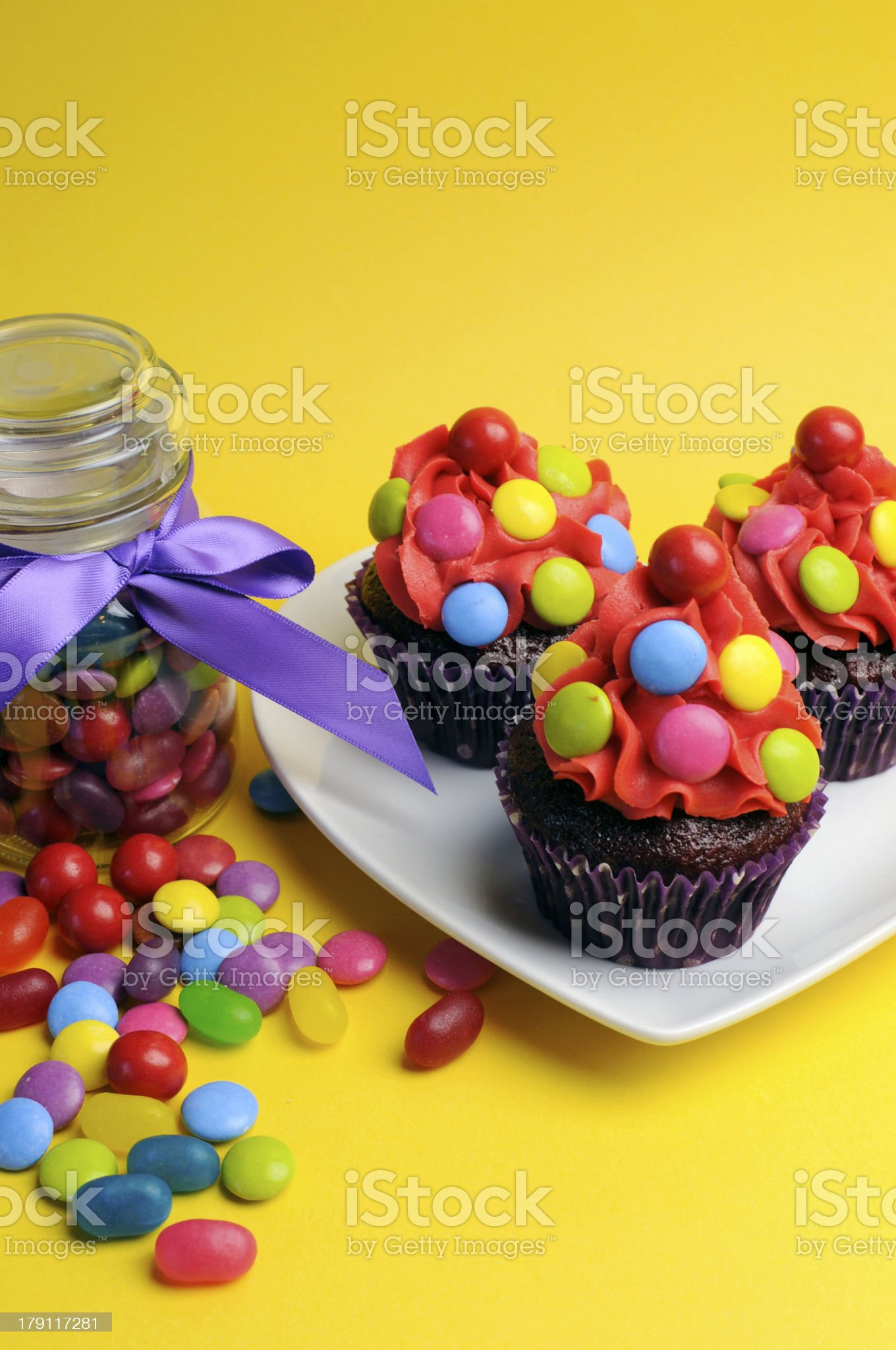 Bright colored candy cupcakes royalty-free stock photo