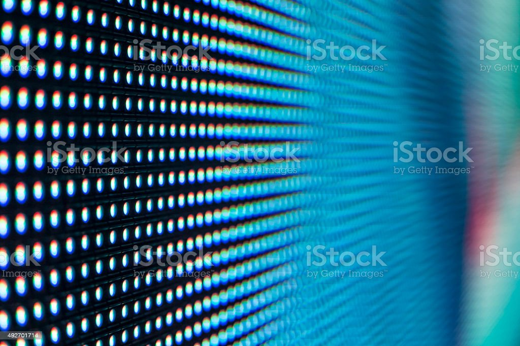 Bright colored light blue LED SMD screen stock photo