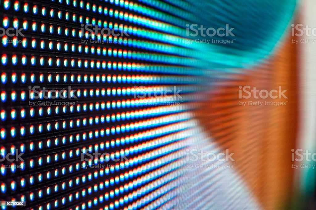 Bright colored light blue, white and orange LED SMD screen stock photo