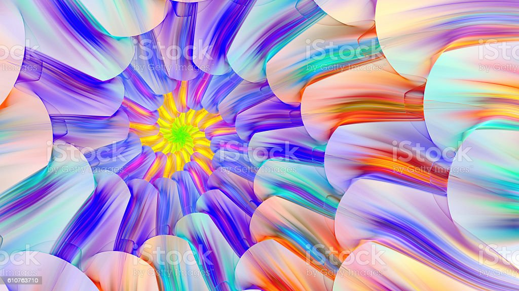 Bright colored stained glass with spirals. stock photo