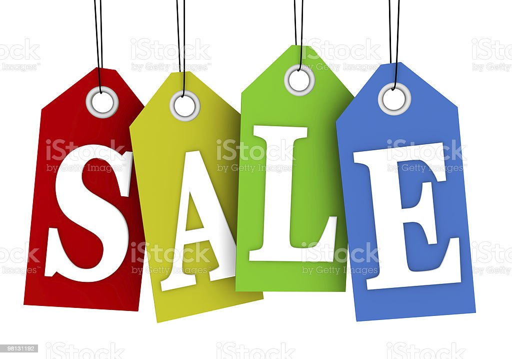 Bright colored tags announcing a sale stock photo