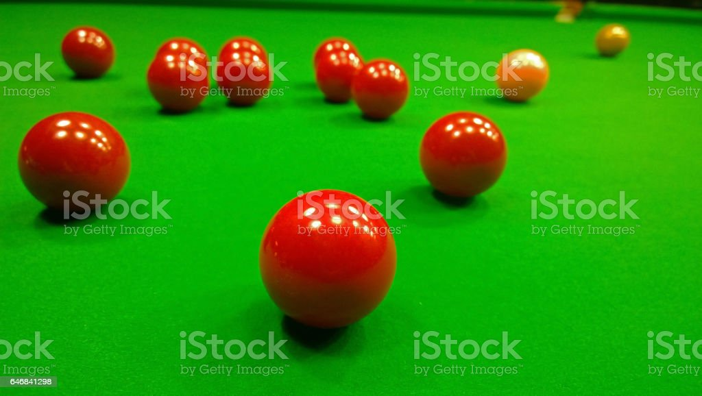 Bright colorful balls to play snooker stock photo