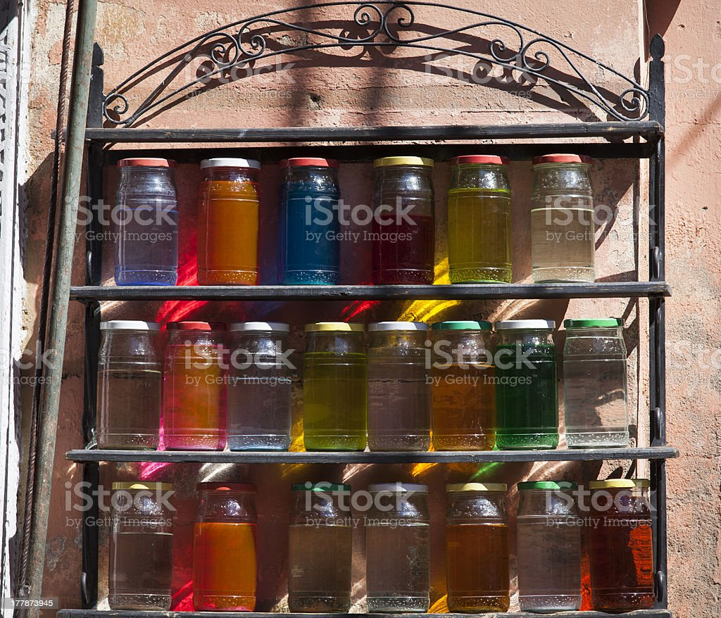 Bright colorful bottles in Morocco stock photo