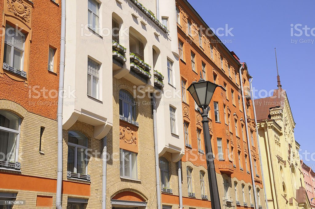 Bright Colorful Buildings in St Petersburg stock photo