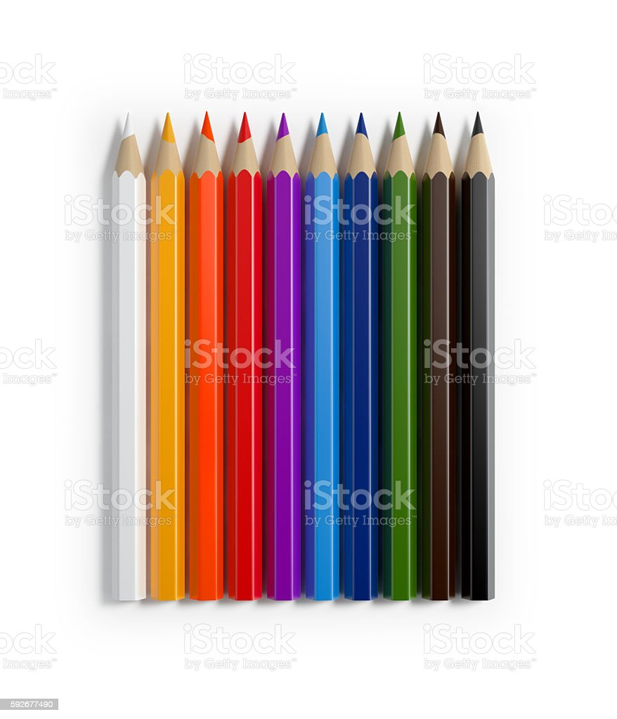 Bright Colorful Colored Pencils Forming A Horizontal Raw stock photo