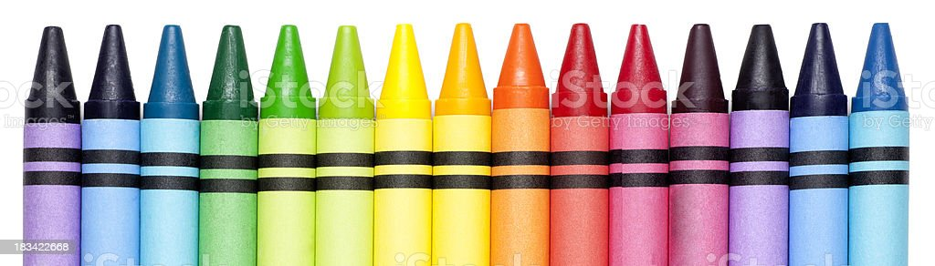 Bright Colorful Crayons in a Row stock photo