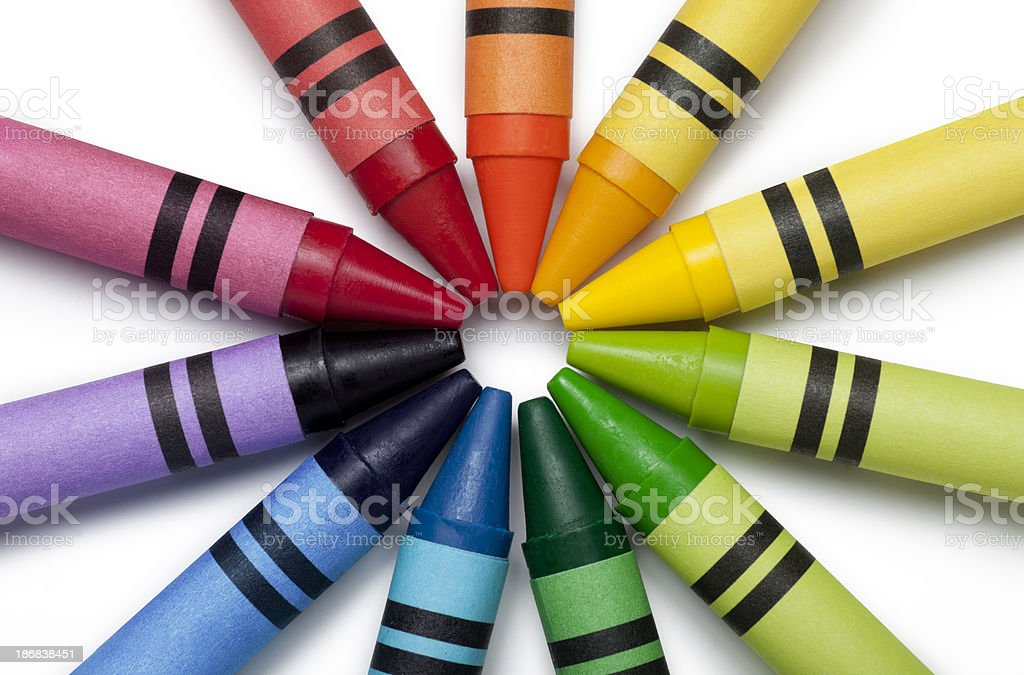 Bright Colorful Crayons royalty-free stock photo