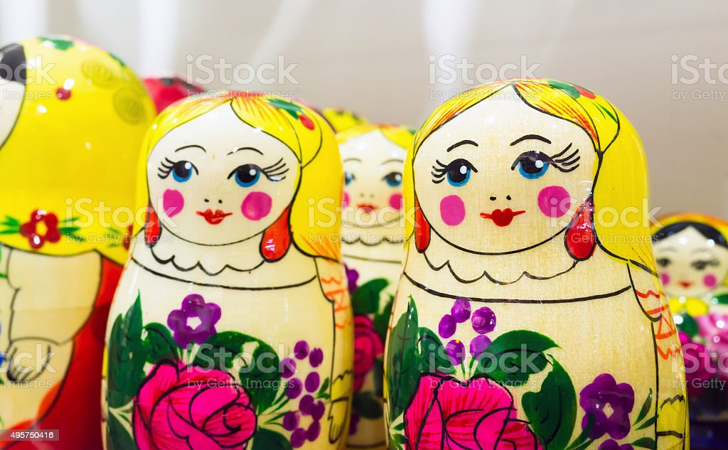 Bright colorful Matryoshka dolls, popular souvenir stock photo