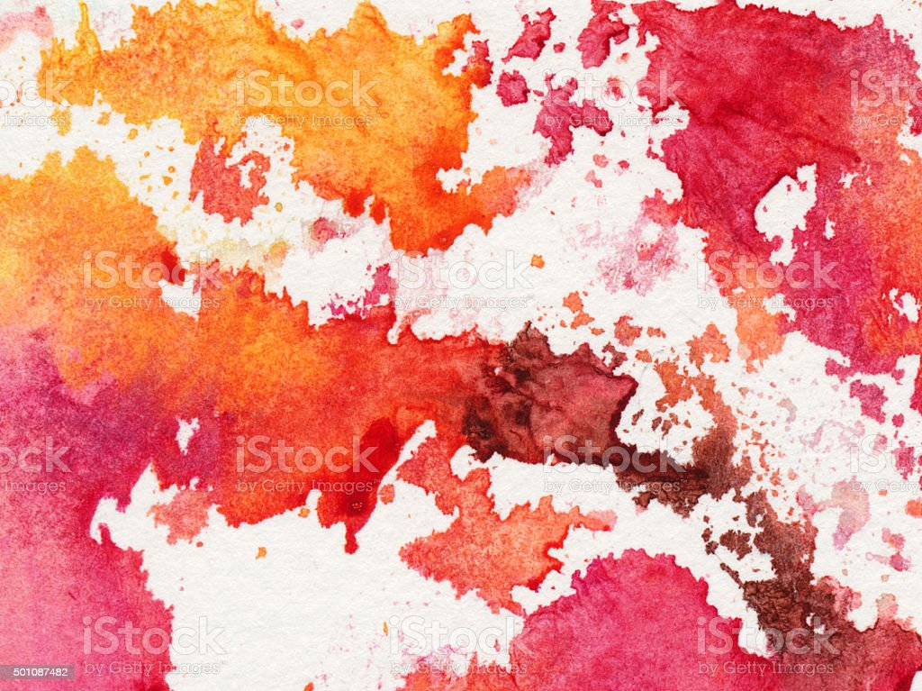 Bright colorful splotches of paint on a white background stock photo