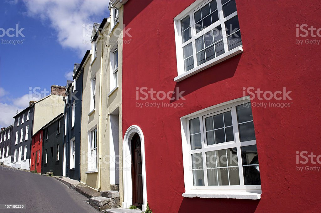 Bright coloured houses in Kinsale, County Cork, Republic of Ireland royalty-free stock photo