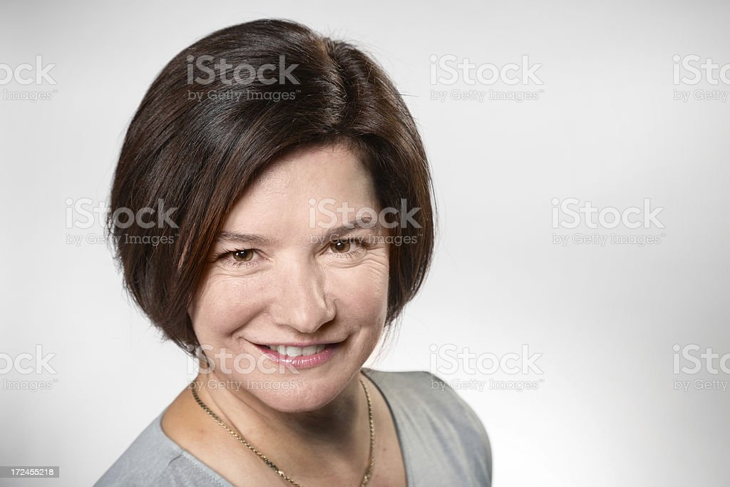 Bright Confident Caucasian Mature woman close-up royalty-free stock photo