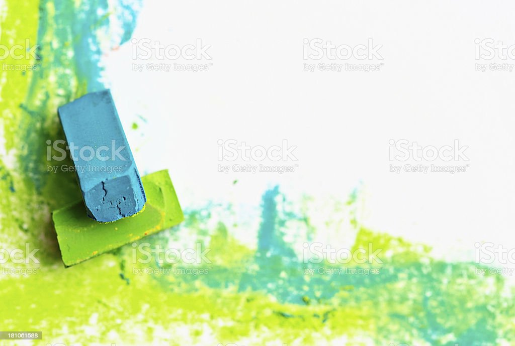 Bright corner border drawn in  green and blue pastel crayons royalty-free stock photo